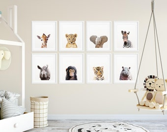 Safari Nursery Decor, Safari Animal Prints, Baby Animals Set 8, Safari Animals, Lion, Giraffe, Hippo, Nursery Wall Art, Kids Room Printable