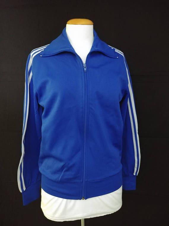 Vintage 1970's Adidas Track Jacket, Size Small/ Royal Blue 70's Adidas Three Stripe Track Jacket