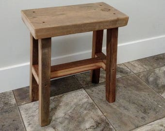 Reclaimed Wood Bathroom/ Kitchen/ Entry Stool/ Bench