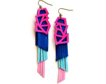 Neon Pink Earring, Statement Earring, Filigree Earring, Leather Earring, Lattice Earrings, Futuristic Earring, Leather Jewelry, Bold Earring