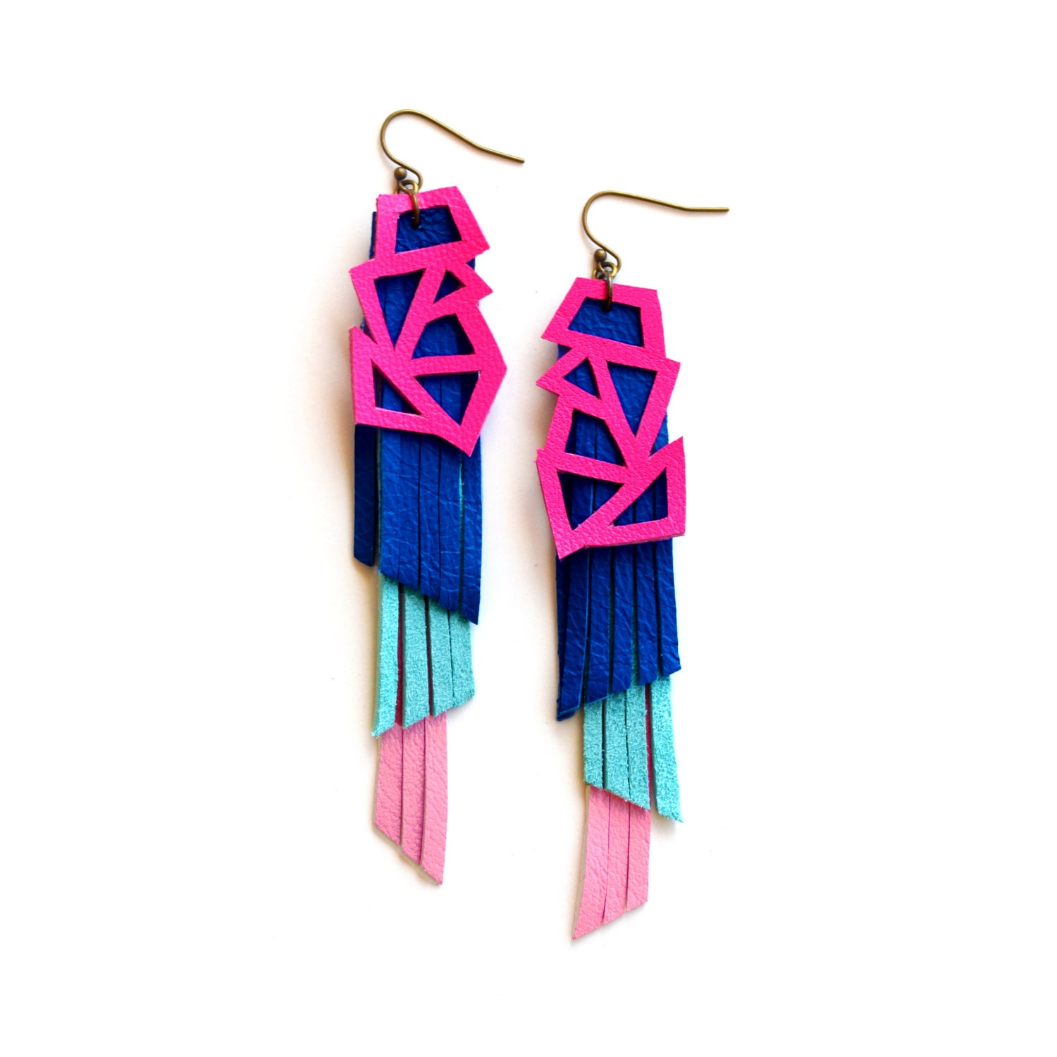 s pink geometric dangle boo statement green triangle product earrings in brass neon and tribal tree palm gold