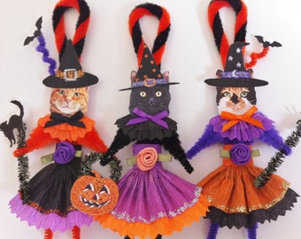 HALLOWEEN CAT ORNAMENTS witch kitty cat girl trio vintage style chenille ornaments set of 3