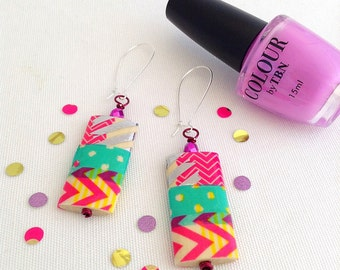 colorful earrings, big bright earrings, abstract pattern oversize earrings