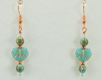 Copper Turquoise Leaf Earrings