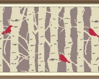 Forest and Birds Abstract Modern Cross Stitch Pattern PDF Chart Instant Download Silhouette Pattern