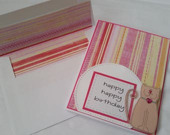 Sewn Handmade Birthday Card for Cat Lover