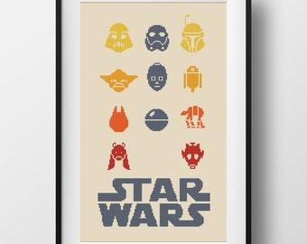 Star Wars Cross Stitch Pattern Star Wars Trilogy Counted Cross Stitch Darth Vader Boba Fett Yoda Cross Stitch Geeky Easy Cross Stitch chart