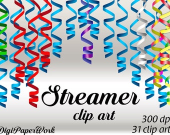 Holiday decoration Party Clip Art streamer Digital Ribbons New Year clip art Personal and Commercial Use