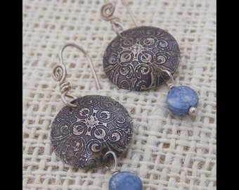 Kyanite Etched Earrings by Swirly Girls
