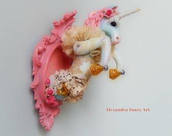 "Handmade sculpture Hanging frame ""Romantic spirit"" blue unicorn"