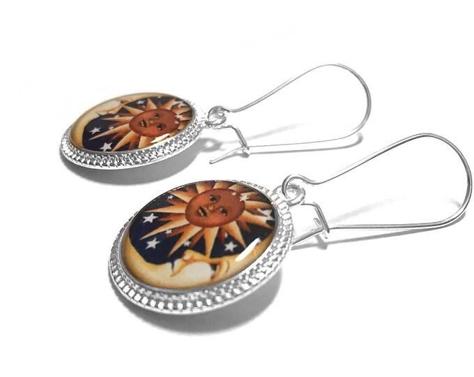 Sun and Moon Silver Earrings, Celestial Earrings, Sun Moon Jewelry, Dangle Earrings, Handmade, Resin Jewelry, Space Jewelry, Moon Jewelry