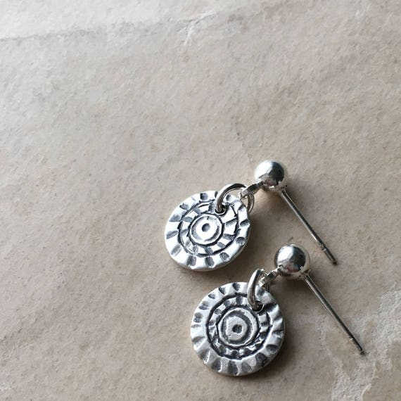 Carved Silver, Teeny Tiny Earrings, Tiny Dangle, Silver Ball Stud Earrings