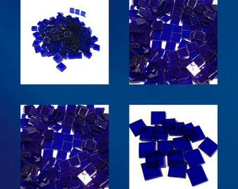 Dark Blue Cathedral Squares Stained Glass Mosaic Tiles Hand Cut Transparent