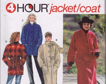 Simplicity 9221 Misses' Coat or Jacket and Scarf Pattern, UNCUT, Factory Folds, Sizes xsmall, small, medium