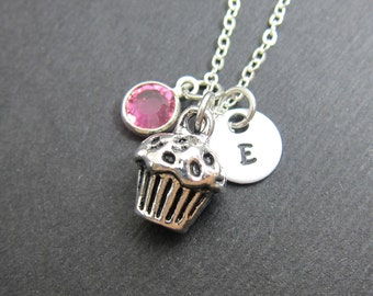 Cupcake Necklace - Personalized Handstamped Initial Name, Customized crystal birthstone