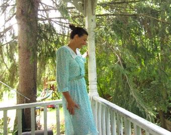 Vintage 1980s Lace Collar Robin Egg Blue Floral Summer Dress Blake Elizabeth