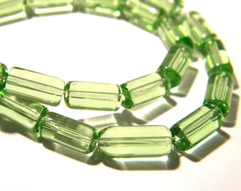 30 beads tube translucent glass - 10 x 4 mm - Green Freshwater - Pearl translucent glass - bead tube - G95-6