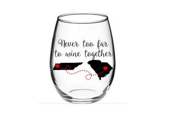 Best Friend Wine Glass - Long Distance Friendship Gift - Friendship Long Distance - Friendship Distance - 15 oz Stemless Wine Glass