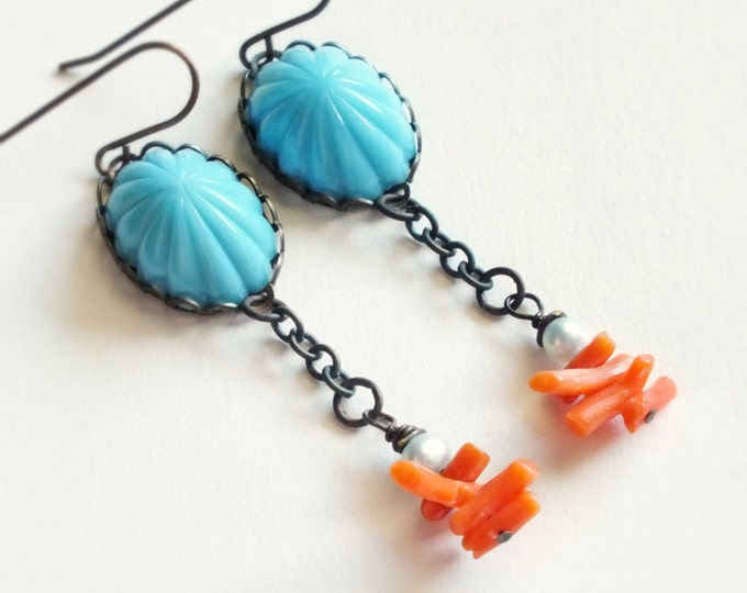 Turquoise Dangle Earrings Vintage Glass Cabochons Red Branch Coral Eco Friendly Jewelry