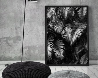 Palm Leaves, Art Print, Banana Palms, Black and White, Poster, Scandinavian, Minimalist, Palms, Leaves, Modern, Wall Decor, Printable, Art