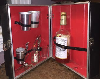 Midcentury Traveling Bar Vintage Miniature Bar Kit Suitcase w key Circa 1960s-70s