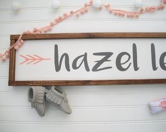 Large Baby Name Sign . Baby Girl . Nursery Decor . Woodland Arrow Name Sign . Woodland Nursery Decor . Nursery Name Sign . Boho Baby