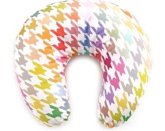 Nursing Pillow Cover Bright Houndstooth. Nursing Pillow. Nursing Pillow Cover. Minky Nursing Pillow Cover. Rainbow Nursing Pillow Cover.