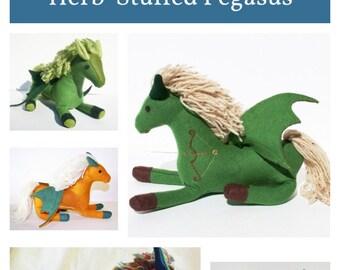 Wool Magical Forest Friend Pegasus ~ Wool Pegasus Fantasy Animal Companion, Stuffed w/ Herbs & Flax Seeds, Personalized Talisman Companion