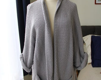 Soft Gray Knit Cardigan