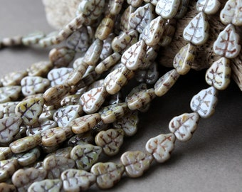 Glass Leaf Beads 25Pc, 8х10mm Czech Glass Beads, Glass Leaves Luster - Opaque Green