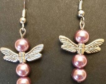 Glass Pink Beads with Dragonfly Wings Earrings