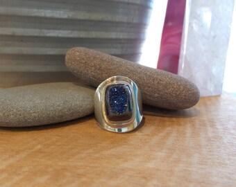 Blue Titanium Druzy Modern Cabochon Ring Size 9