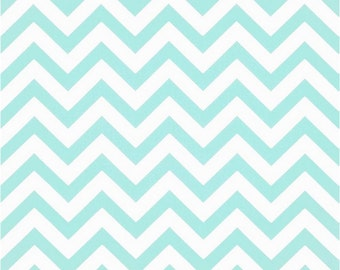 1 Yard Mint and White Chevron Fabric - Premier Prints Minte and White Zig Zag Chevron Fabric ONE YARD