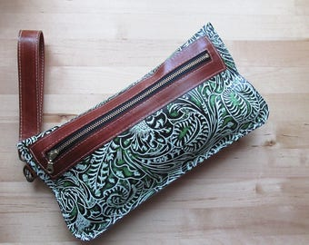 Iphone case, Green Brown leather clutch, wristlet, floral embossed leather purse, Iphone case, wallet, coin purse, small wristlet clutch