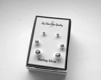 Sterling Silver .925 3 Pair Earring Set/4mm 6mm and 8mm Ball Post Earrings/Polished Ball Stud Earrings/Minimalist Earrings/Everyday Earrings