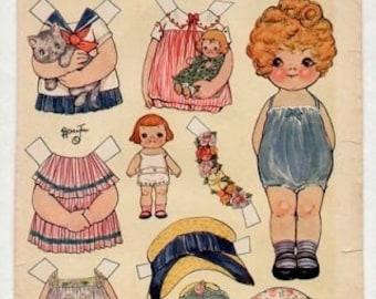 E-Pattern Vintage Dolly Dingle Paper Doll And Cross Stitch Pattern 10