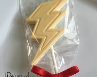 12 Chocolate Lightening Bolt Lollipop Favors Bolts Birthday Party Candy Superhero Flash Harry Potter