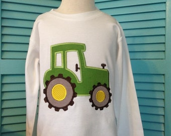 """Boys """" BIG GREEN TRACTOR"""" long or short sleeves available ."""