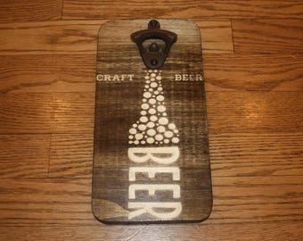 Custom Made Craft Beer Bottle Opener - Wall Hanging