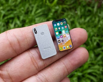 iPhone X [Silver] Miniature Scale 1:6 for Blythe Barbie Puki Lati Revoltech G.I. Joe and similar Dolls.