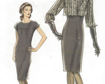 Womens Sheath Dress and Above Waist Jacket OOP Vogue Sewing Pattern V8414 Size 6 8 10 12 Bust 30 1/2 to 34 UnCut Very Easy Vogue
