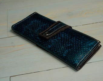 Leather wallet, snake leather wallet,