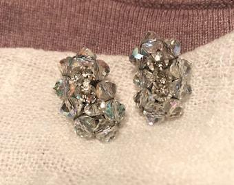 Vintage Midcentury Aurora Borealis Crystal Earrings