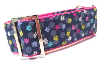 Greyhound, sighthound, house collar in pretty leaf design fabric.   Also suitable as a walking collar for most other dogs.