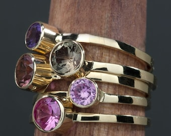 Pink Sapphire 14kt Gold Birthstone Stacking Ring