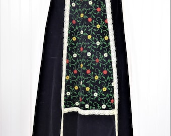 70s Embroidered Velvet Skirt, Vintage Black Velvet Maxi Skirt with Flower Embroidery and Lace Details, Women's 24 Waist, Sunshine Up