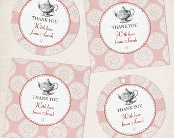 Printable Pink Rosette Victorian High Tea Party Images, Editable PDF Instant Download seals, stickers, tags, buttons, cupcake toppers