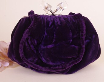 Vtg 1930s Velvet Purple Lucite Evening Bag