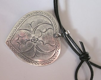 Hill Tribe Pendant Necklace, Silver Etched Heart, Black Leather Cord, Antiqued Silver Heart Necklace, Hill Tribe Jewelry