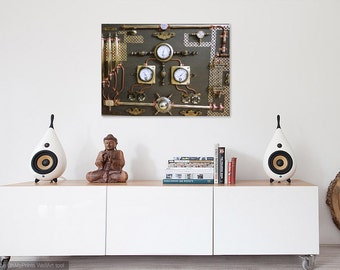 Abstract Industrial Art.Control Panel.Steampunk,Wall Art,Home Decor.Machine age.